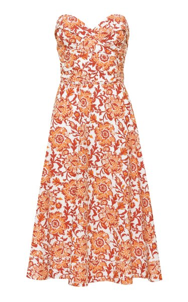 Meditate In Flowers Printed Cotton Midi Dress