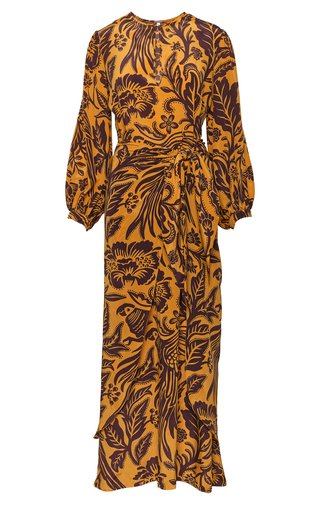 Traditional Landscape Printed Silk Maxi Dress