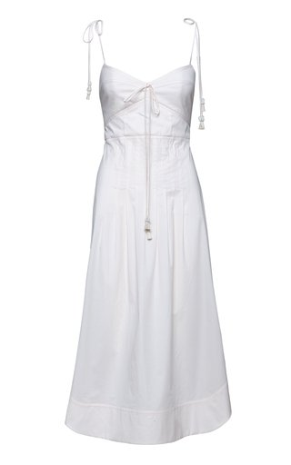 Aromatic Essence Tasseled Stretch-Cotton Midi Dress