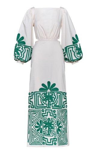 Hidden Threads Embroidered Cotton Maxi Dress