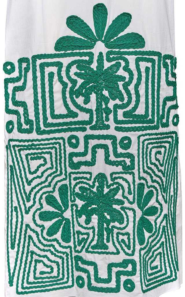 Hidden Threads Embroidered Cotton Midi Dress