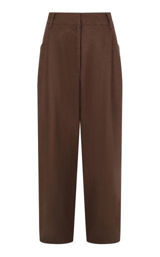 Pleated Linen Straight-Leg Trousers