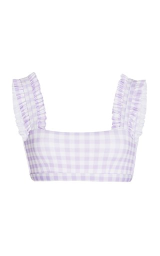 Ruffled Gingham Bikini Top
