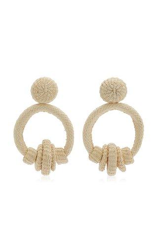 Medium Cultural Transfusion Palm Of Iraca Hoop Earrings