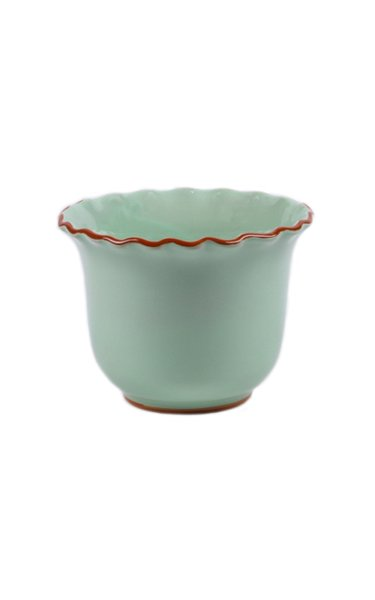 Set-Of-Two Small Scalloped Ceramic Planters