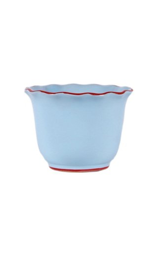 Moda Domus, Set-Of-Two Small Scalloped Ceramic Planters