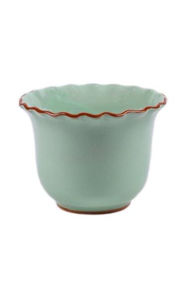 Set-Of-Two Medium Scalloped Ceramic Planters