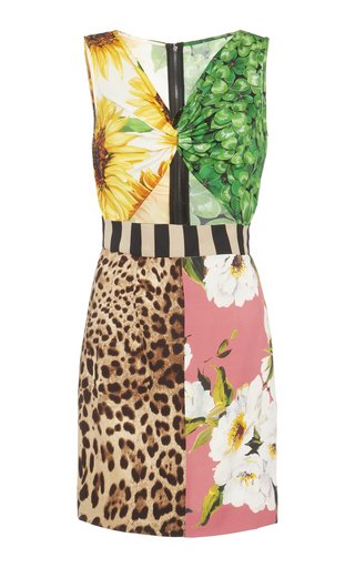 Cutout Patchwork-Printed Silk Mini Dress