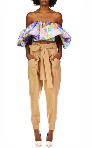 Lisette Belted Gabardine Cropped Cargo Pant