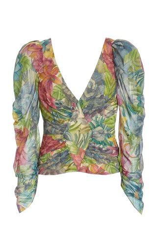 Jerre Printed Silk-Chiffon Top