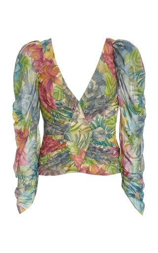Jerre Printed Silk-Chiffon Top