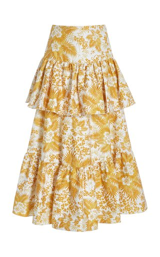 Annalise Tiered Floral Cotton Skirt