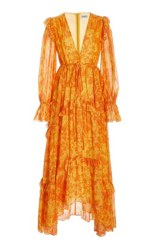 Allegra Ruffled Chiffon Maxi Dress