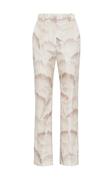 Silk Straight-Leg Printed Pants