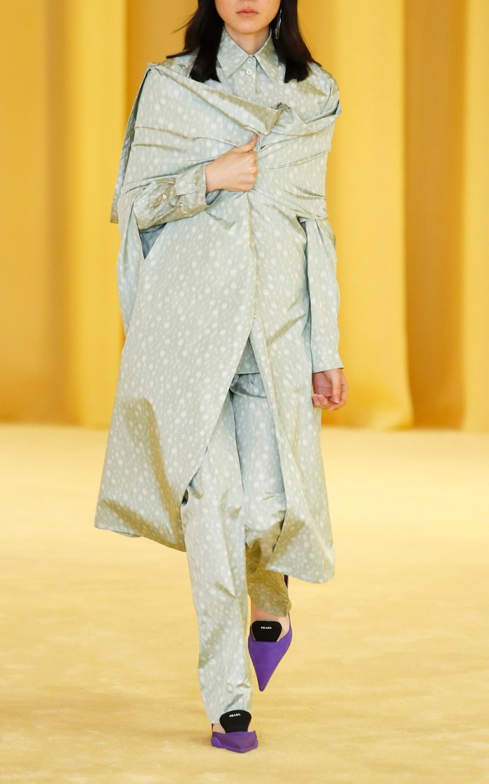 Printed Silk Cape Coat