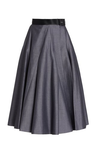 Belted Mohair-Wool A-Line Midi Skirt