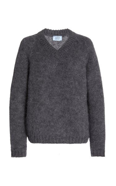 Mohair-Blend V-Neck Sweater