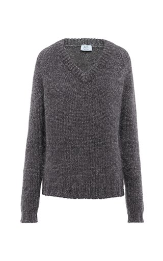 Mohair-Blend V-Neck Sweater