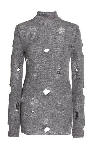 Distressed Wool Turtleneck Top