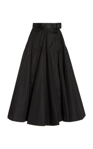 Belted Nylon Gabardine A-Line Midi Skirt