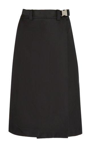Belted Gabardine Midi Skirt