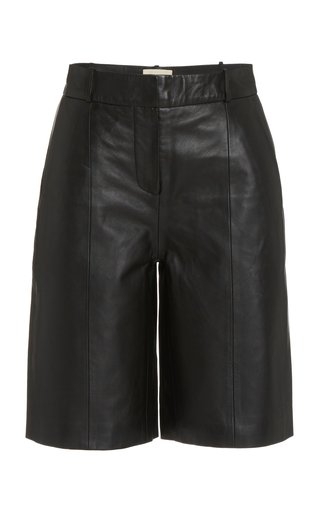 Kiltan Pleated Leather Bermuda Shorts