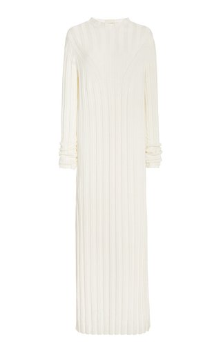 Gaya Ribbed Linen-Silk Maxi Dress