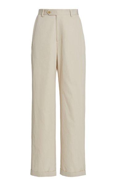 Jenna Twill Straight-Leg Pants