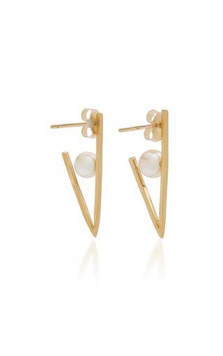 Triangle 18K Yellow Gold Pearl Hoop Earrings