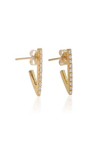 Triangle 18K Yellow Gold Diamond Hoop Earrings