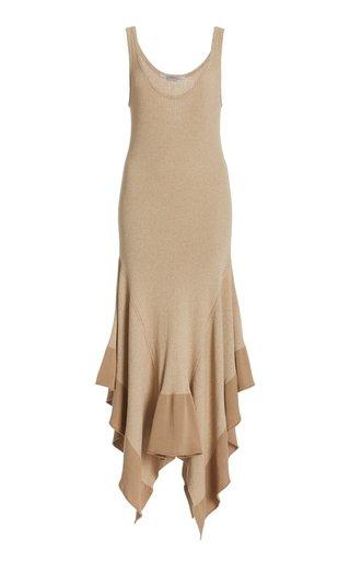 Collapsing Shape Ribbed-Knit Handkerchief Dress