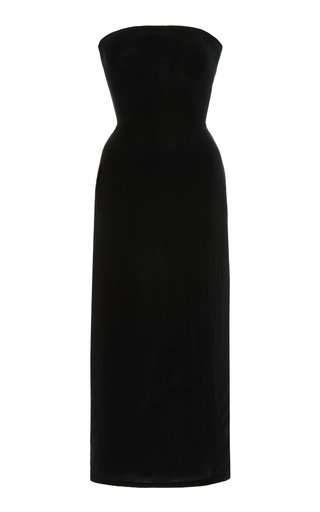 Strapless Tie-Back Woven Midi Dress