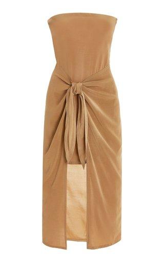 DK Strapless Wrap-Effect Woven Midi Dress