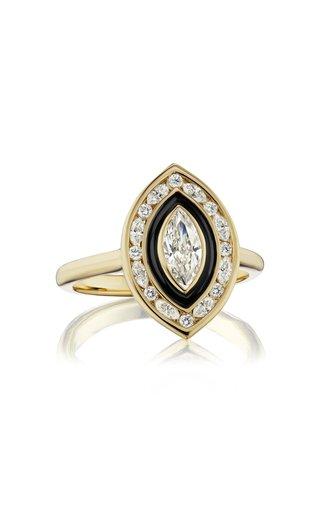 Museum Enameled 18K Yellow Gold Diamond Ring
