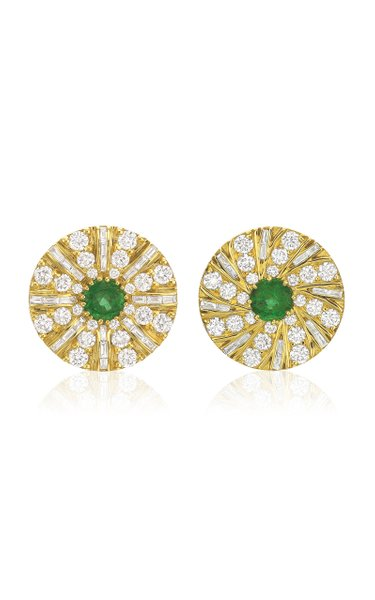 Shazam Mismatch 18K Yellow Gold Emerald, Diamond Earrings