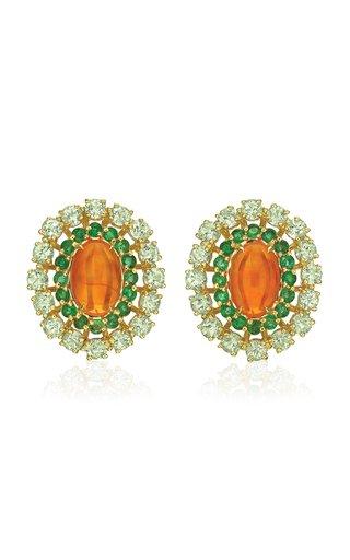 18K Yellow Gold Opal, Emerald, Tourmaline Earrings