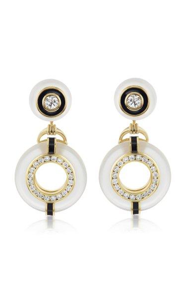 Donut III Enameled 18K Yellow Gold Diamonds, Crystal Earrings