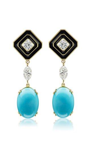Museum Enameled 18K Yellow Gold Turquoise, Diamond Earrings