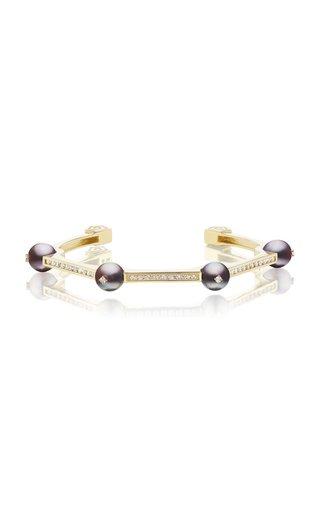 18K Yellow Gold Pearl, Diamond Cuff