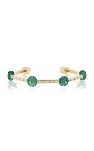 18K Yellow Gold Emerald, Diamond Cuff