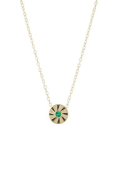 Shazam III Enameled 18K Yellow Gold Emerald, Diamond Necklace