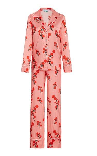 Printed Stretch Silk Satin Pajama Set