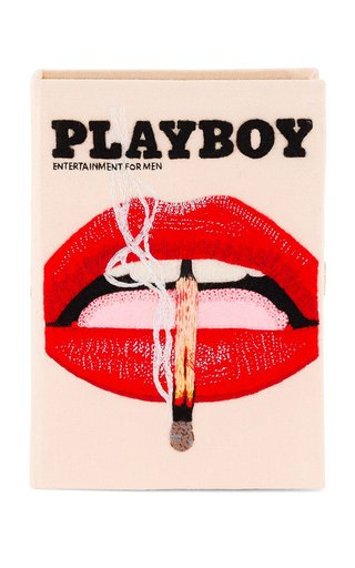 Small Playboy Lips Embroidered Clutch