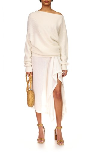 Off-The-Shoulder Twisted Shaker Cashmere-Linen Sweater