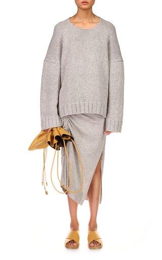 Elliptical Hem Handknit Cashmere Sweater