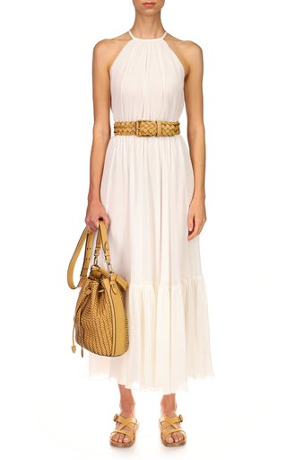 Halter Ruffle Cotton-Silk Blend Maxi Dress