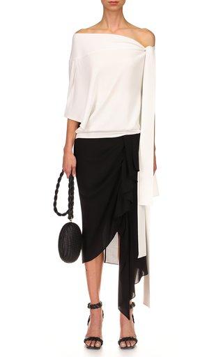 Silk Side-Drape Sarong Skirt