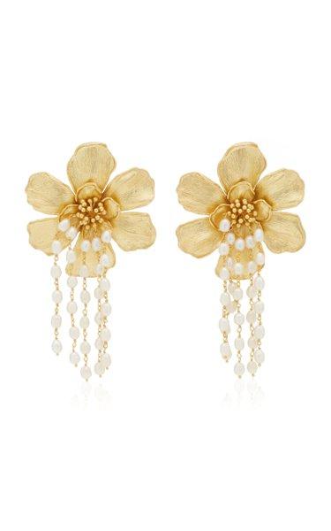 Gold-Plated Bloom Pearl Earrings