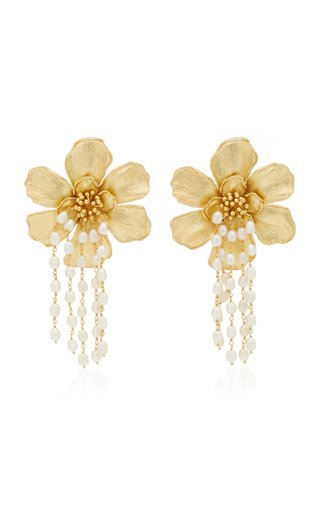 Bloom 24K Gold-Plated Pearl Earrings