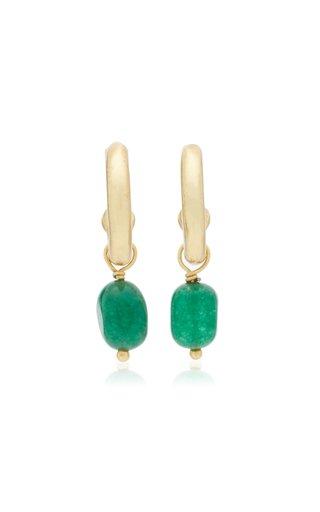 Lani 24K Gold-Plated Jade Hoop Earrings